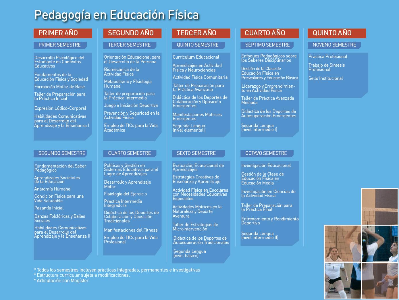 Facultad de Ciencias de la Actividad Física y del Deporte: Pedagogía en Educación Física - Malla de la carrera