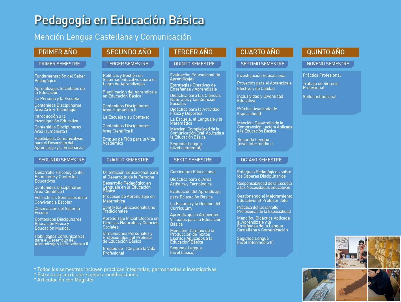Facultad de Ciencias de la Educación: Pedagogía en Educación Básica, mención en  Lengua Castellana y Comunicación - Malla de la carrera