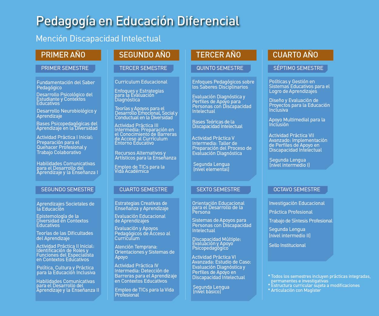 Facultad de Ciencias de la Educación: Pedagogía en Educación Diferencial, mención en Discapacidad Intelectual - Malla de la carrera