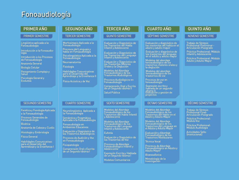 Facultad de Ciencias de la Salud: Fonoaudiología - Malla de la carrera