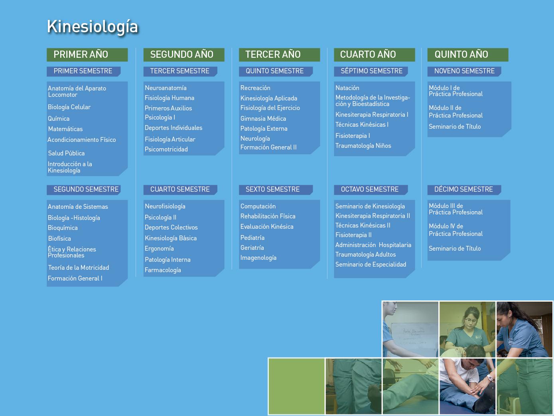 Facultad de Ciencias de la Salud: Kinesiología - Malla de la carrera