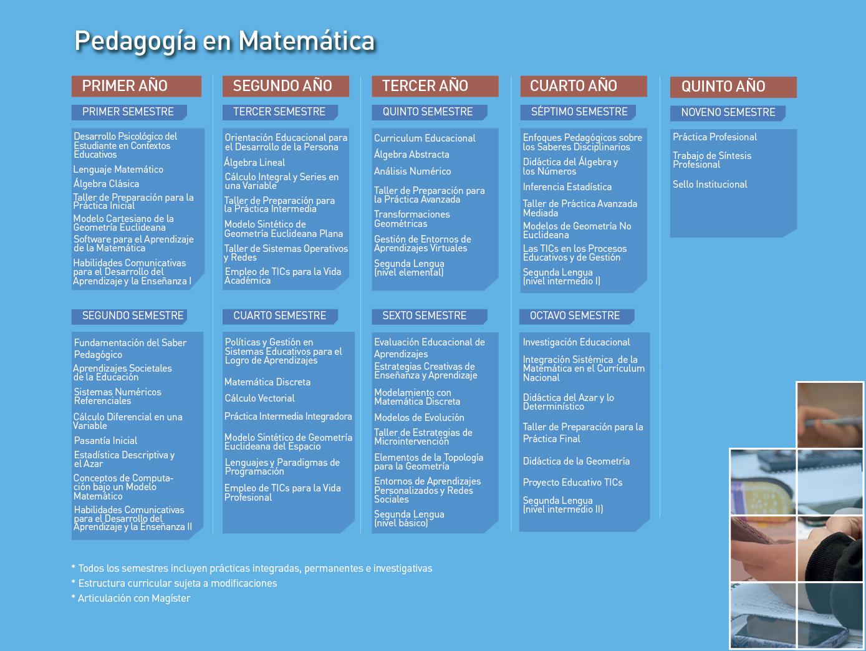 Facultad de Ciencias Naturales y Exactas: Pedagogía en Matemática - Malla de la carrera