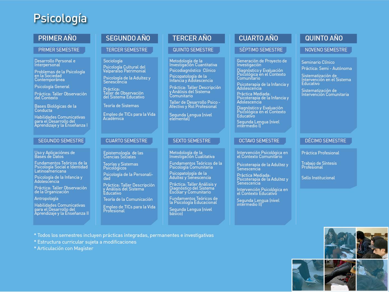 Facultad de Ciencias Sociales: Psicología - Malla de la carrera.