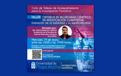"""VRA invita a taller sobre """"Criterios de rigurosidad científica en investigación cuantitativa"""""""