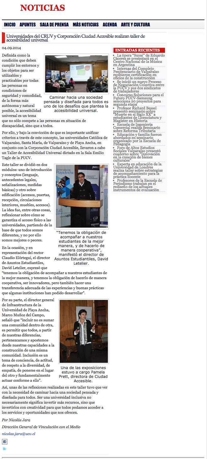 Universidad de Playa Ancha - Inclusión - Noticia PUCV sobre convenio con Ciudad Accesible