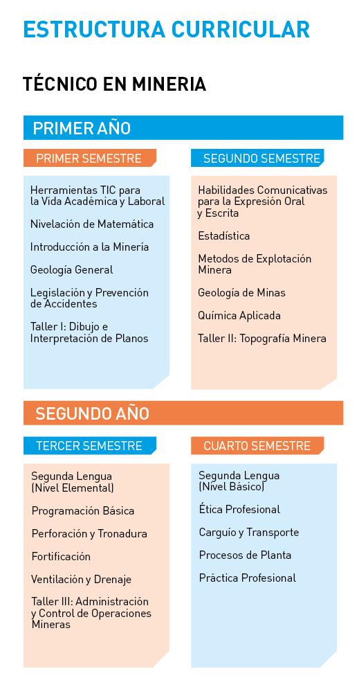 Instituto Tecnológico Universidad de Playa Ancha - Técnico en Minería - Estructura curricular