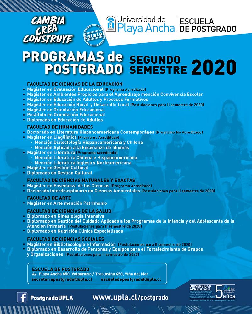 Postgrado UPLA - Oferta segundo semestre 2020